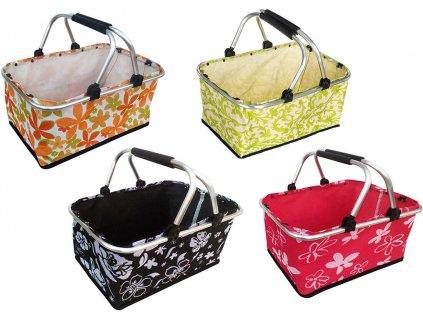 košík nákupní skládací obdél. 48x28x24cm Al+polyester mix barev
