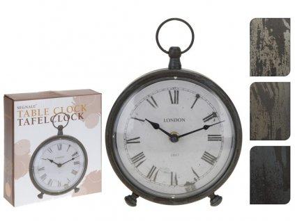 hodiny stolní BUDÍK pr.16,5x20cm kov mix barev