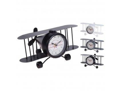 hodiny stolní LETADLO 33x21x17cm kov mix barev
