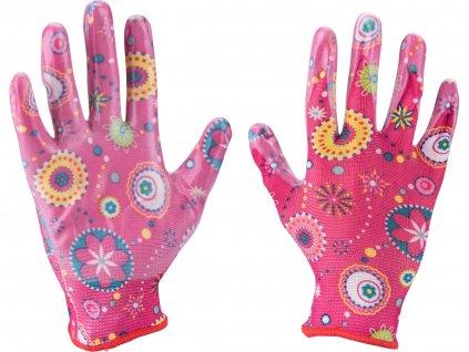"""EXTOL LADY 8856669 rukavice zahradní nylonové polomáčené v nitrilu, velikost 7"""""""