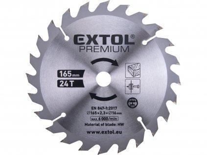 EXTOL PREMIUM 8891822A kotouč pilový s SK plátky, 165x1,4x16mm, 24T