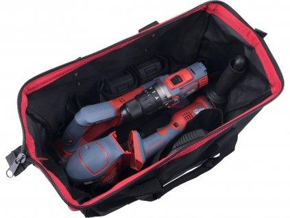 EXTOL PREMIUM 8898314 sada aku nářadí SHARE20V v tašce, 7ks - vrtačka, úhlová bruska, ocaska, excentrická bruska, 2x baterie