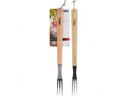 Vidlička grilovací BBQ 46x7cm nerez, dřev.ruk.