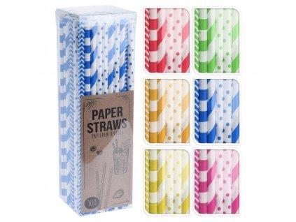 Brčka 6x195mm papírová mix barev (100ks)