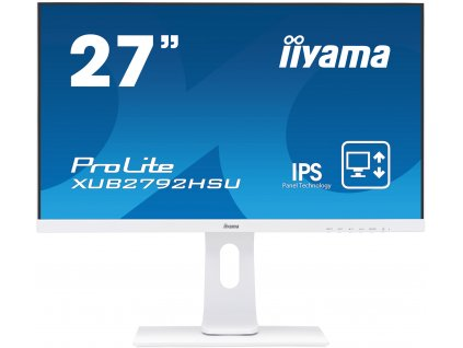 "27"" iiyama XUB2792HSU-W1: IPS, FullHD@75Hz, 250cd/m2, 4ms, VGA, HDMI, DP, USB, height, pivot, bílý (XUB2792HSU-W1)"