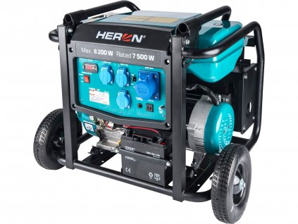 HERON 8896145 elektrocentrála benzínová 17HP/8,2kW, podvozek, elektrický start