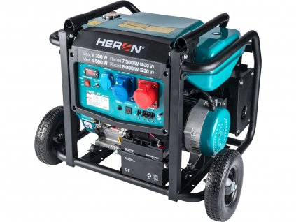 HERON 8896147 elektrocentrála benzínová 17HP/8,2kW/10,25kVA (400V), 6,5kW (230V), podvozek, elektrický start