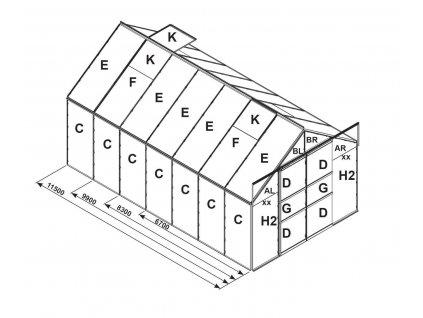 náhradní prosklení pro skleník VITAVIA URANUS 11500 PC 4 mm