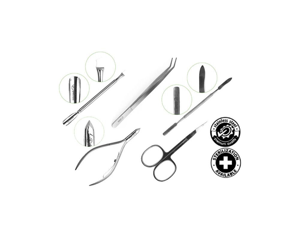 Platinum KHUYẾN MẠI BỘ DỤNG CỤ - Pusher + Nipprers + Tweezers + Scissors + Spatula