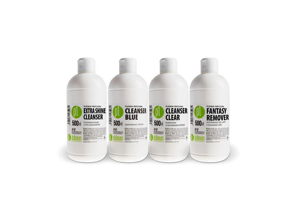 Platinum EXKLUZIVNÍ Bộ - EXTRA SHINE CLEANER, CLEANSER BLUE,  CLEANSER CLEAR, FANTASY REMOVER 500ml