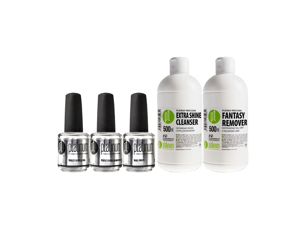 Platinum Bộ PRO LED-tech BOOSTER Prep + Cuticle Remover + Cuticle Oil + Extra Shine Cleanser + Fantasy Rem.