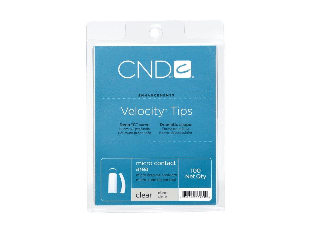 CND Velocity Clear box 100c, Tip trong , nền  chữ C độ cong cao , phần dán nhỏ