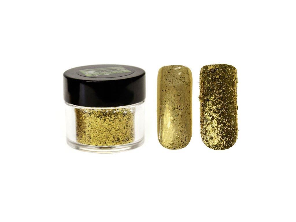 Platinum HOLOGRAPHIC UNIVERSE COLOR EFFECT PIGMENT - bột màu pha với gel - GOLD FLAKES- 0,5g (42)