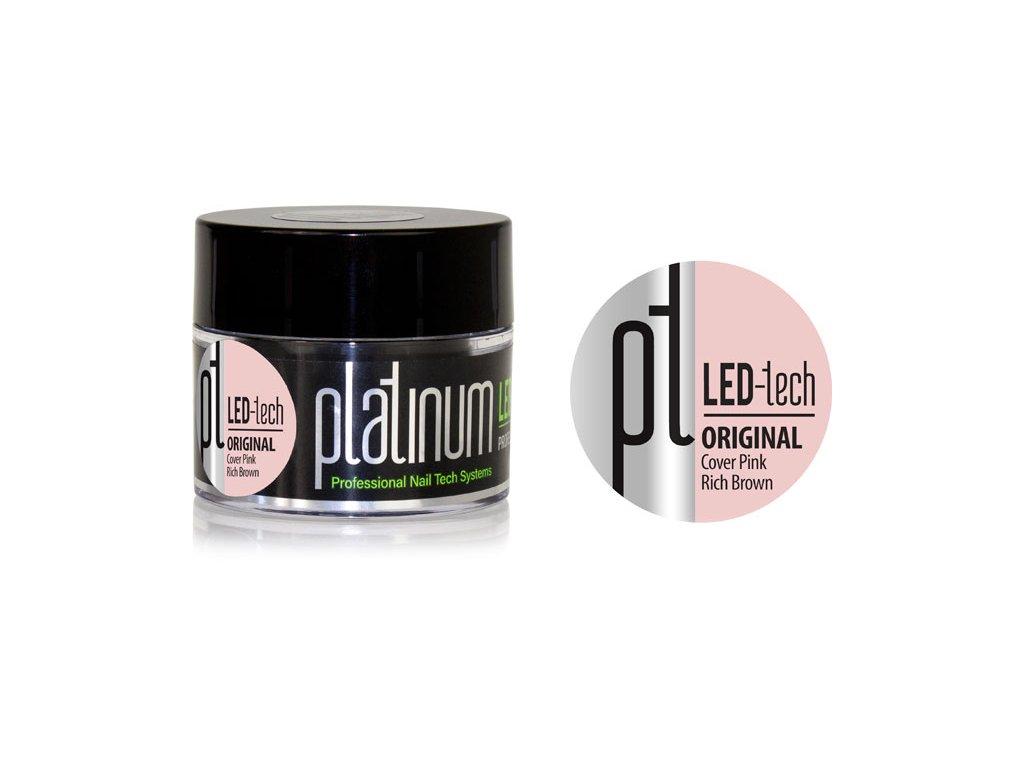 Platinum PLATINUM LED-tech ORIGINAL Cover Pink Rich Brown, 40g - gel đắp ngụy trang (30 giây LED/120 giây U