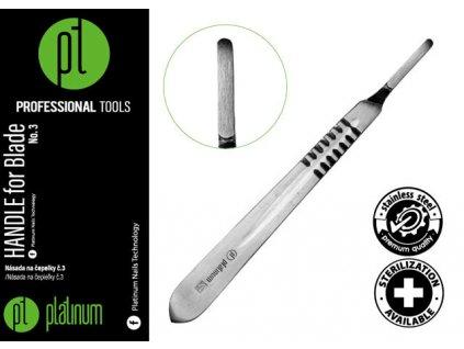 Platinum HANDLE FOR SCALPEL BLADE - Cán dao bằng kim loại không gỉ N.4 (có thể khử trùng)