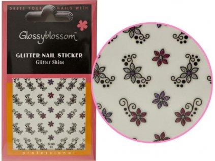 GLITTER NAIL STICKERS - miếng dán móng có nhũ - glitter - FLOWER PARK 1 (71174)