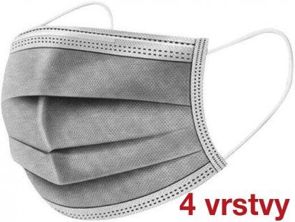 khẩu trang y tế màu XÁM bốn lớp với dây chun  – PREMIUM MEDICAL FACE MASK – 50c