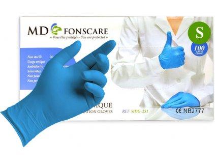 Găng tay không bột nitrile MD FONSCARE -màu xanh, số. S (100c/tong hộp)