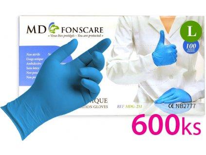 Sada 600ks - Găng tay không bột nitrile MD FONSCARE -màu xanh, số. L