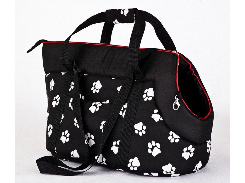 Taška pro psa cestovní černá a packy1