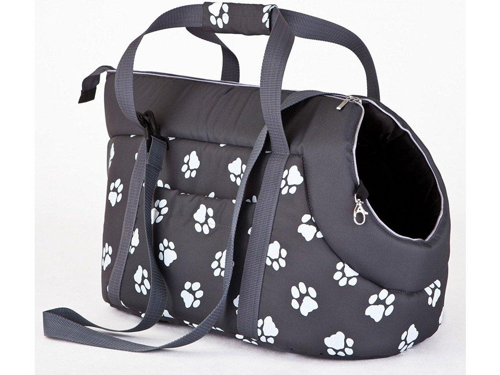 Taška pro psa cestovní šedá a packy3