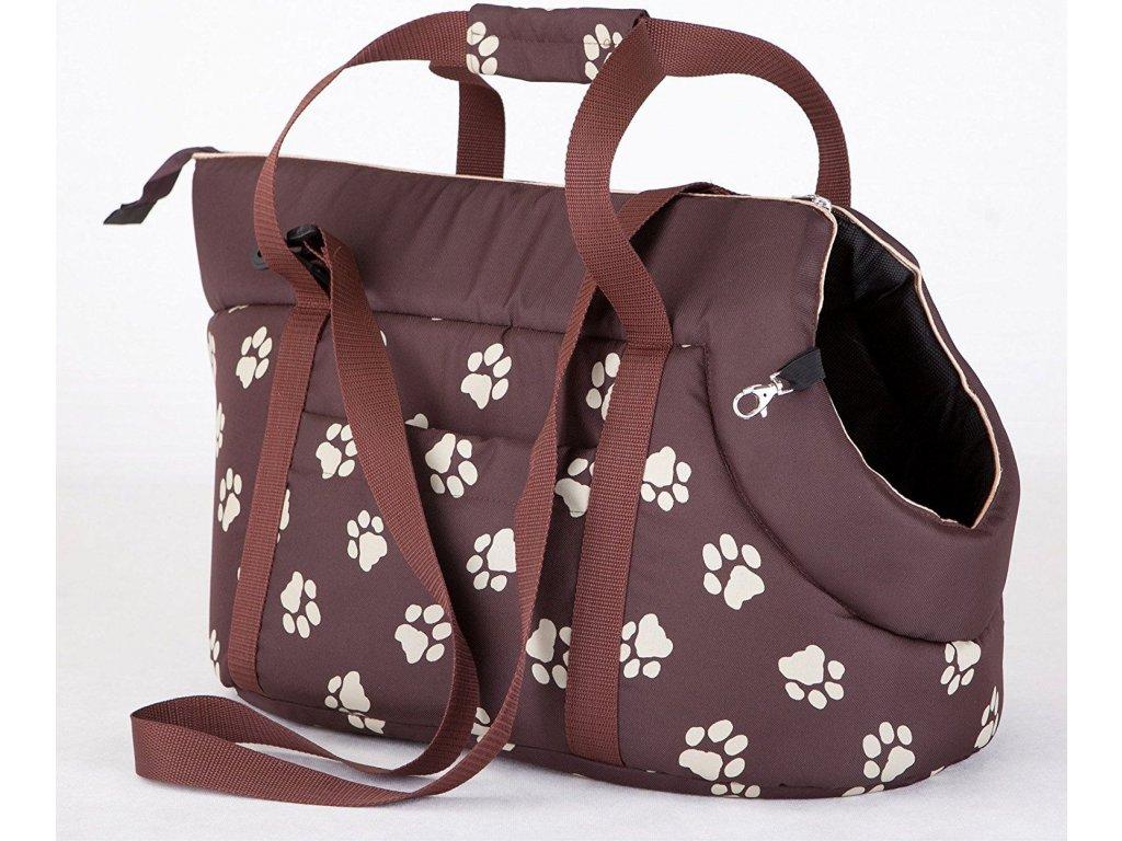 Taška pro psa cestovní hnědá a bílé packy3