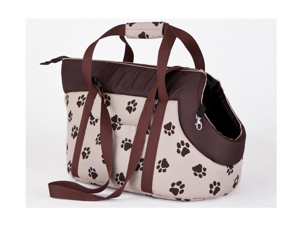 Taška pro psa cestovní béžová packy1