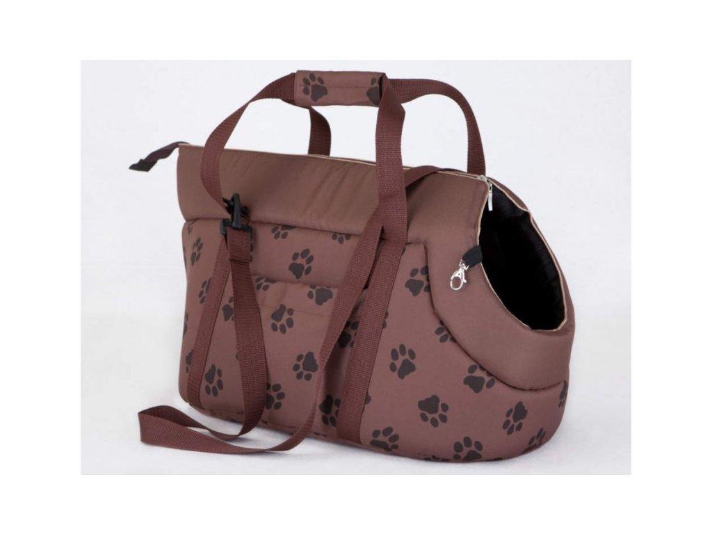 Taška pro psa cestovní sv. hnědá a packy1
