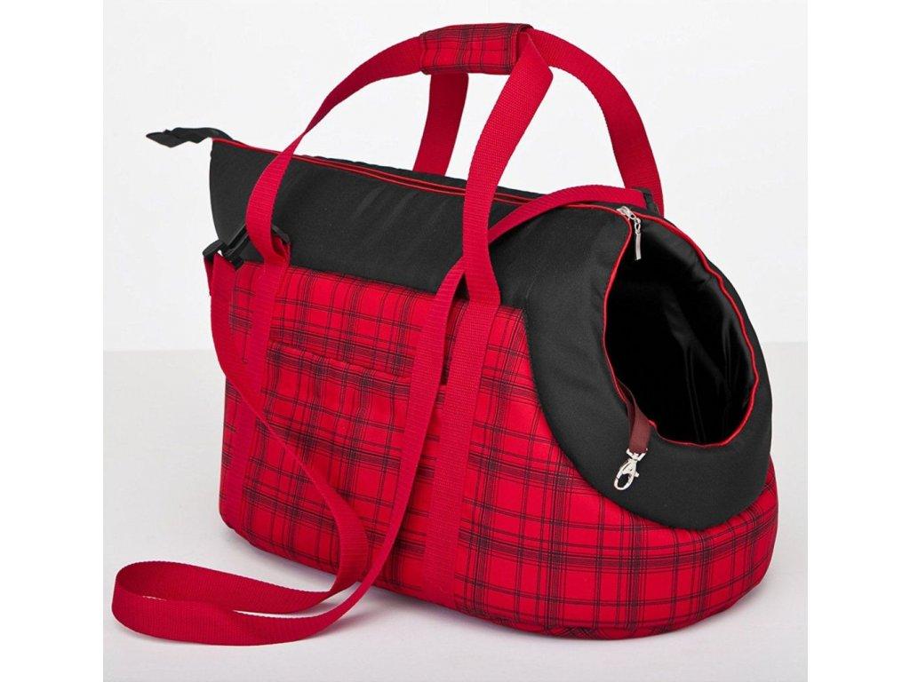 Taška pro psa cestovní červená kostka1