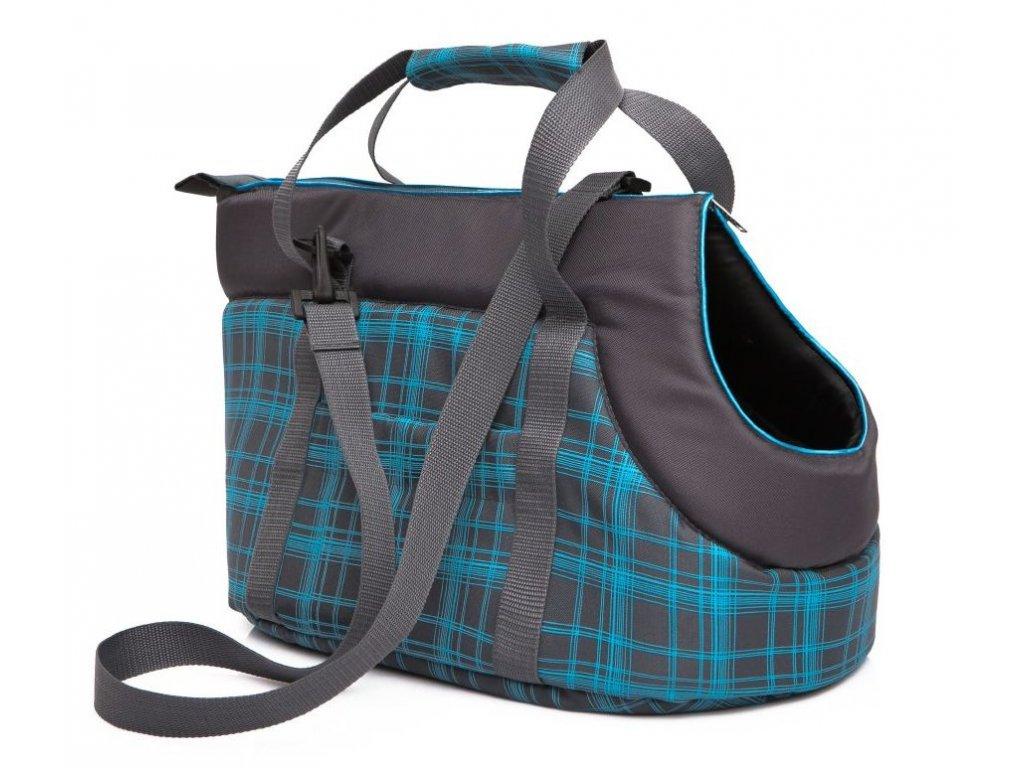 Taška pro psa cestovní modrá kostka1