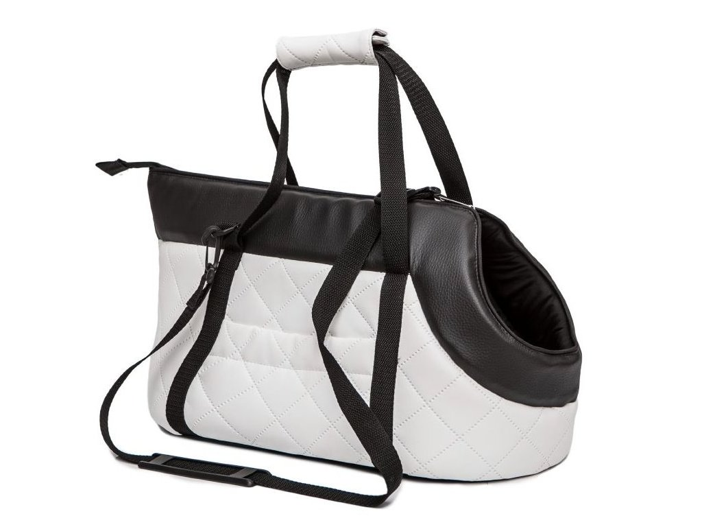 Taška pro psa cestovní bílá eko kůže1