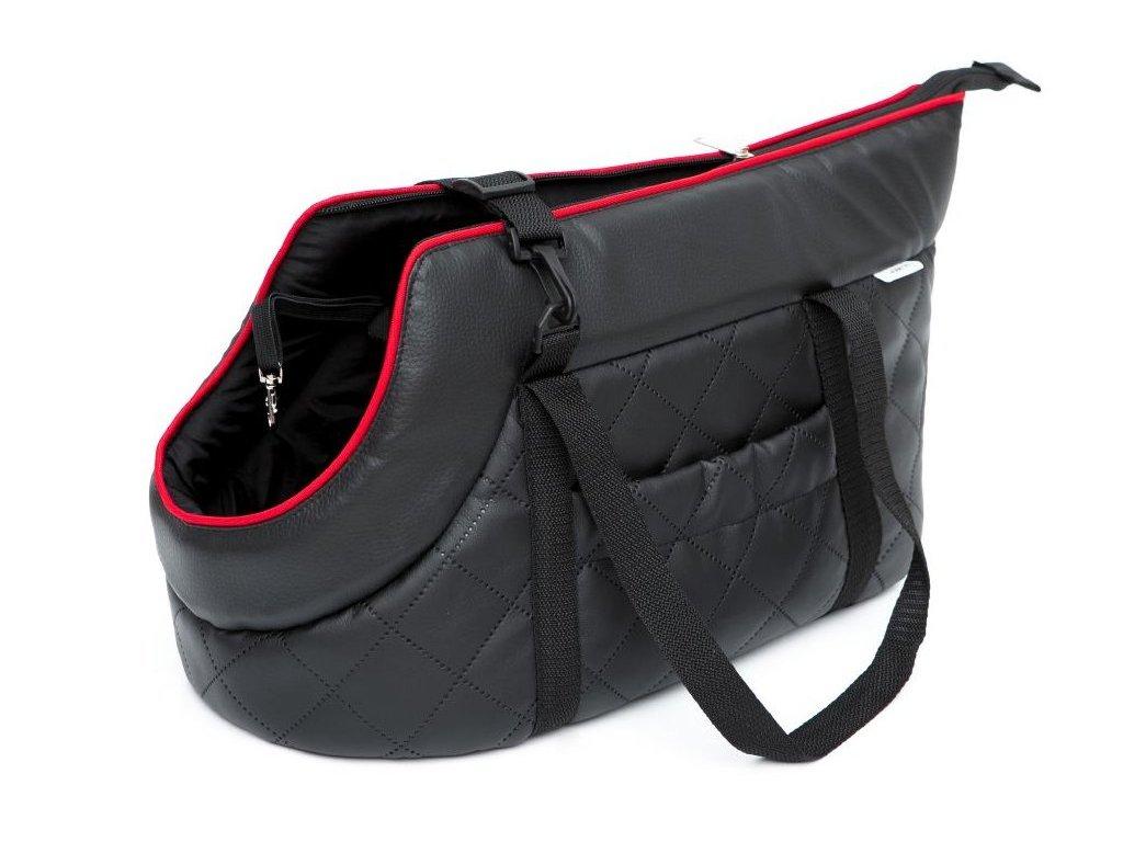 Taška pro psa cestovní černá eko kůže1