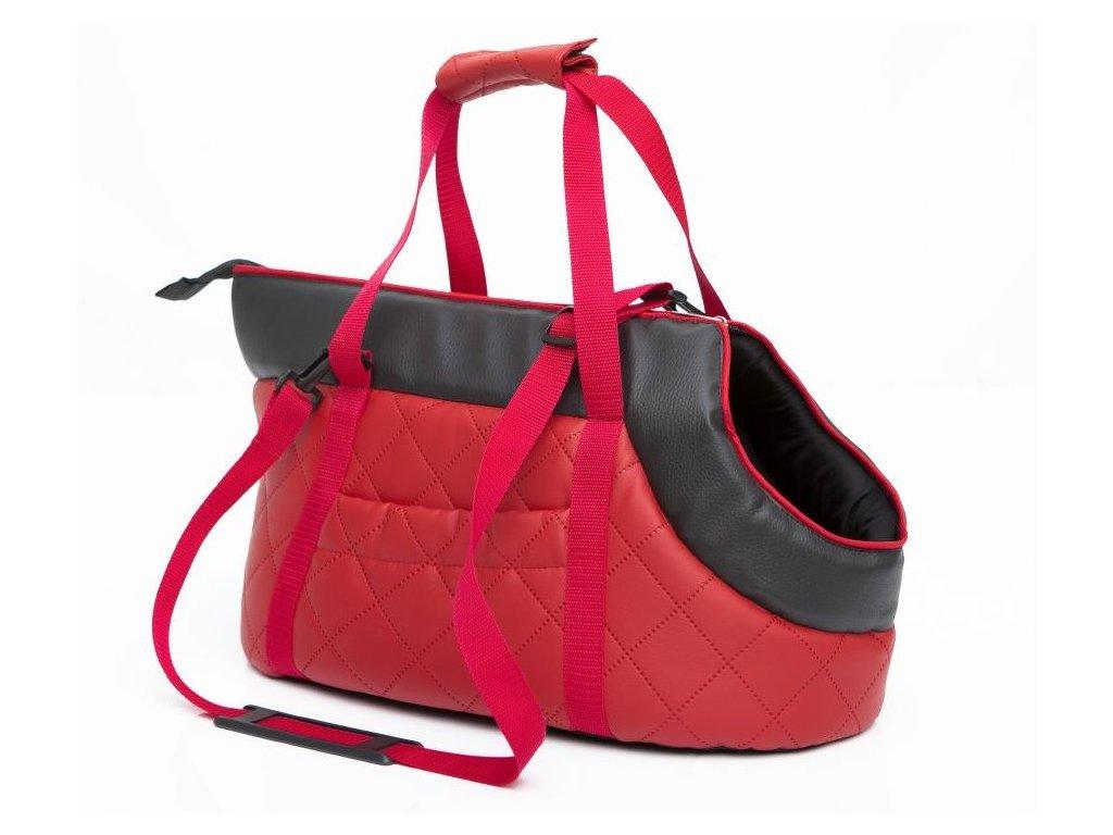 Taška pro psa cestovní červená eko kůže1
