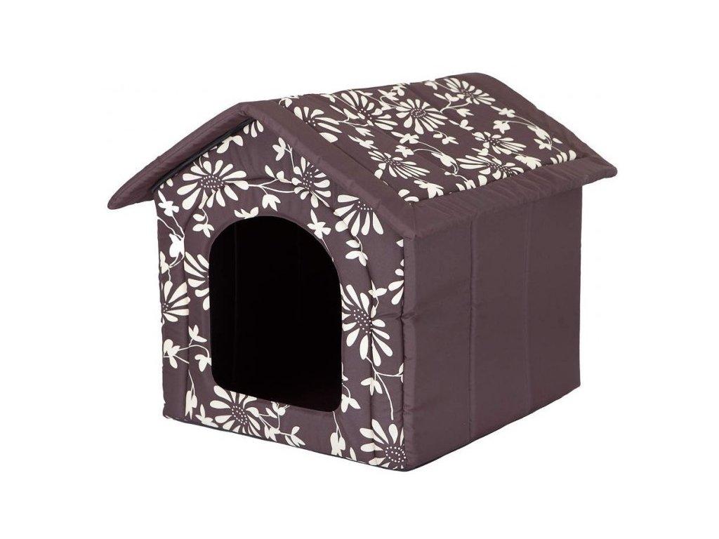 Pelíšek pro psa Bouda hnědá a květy2