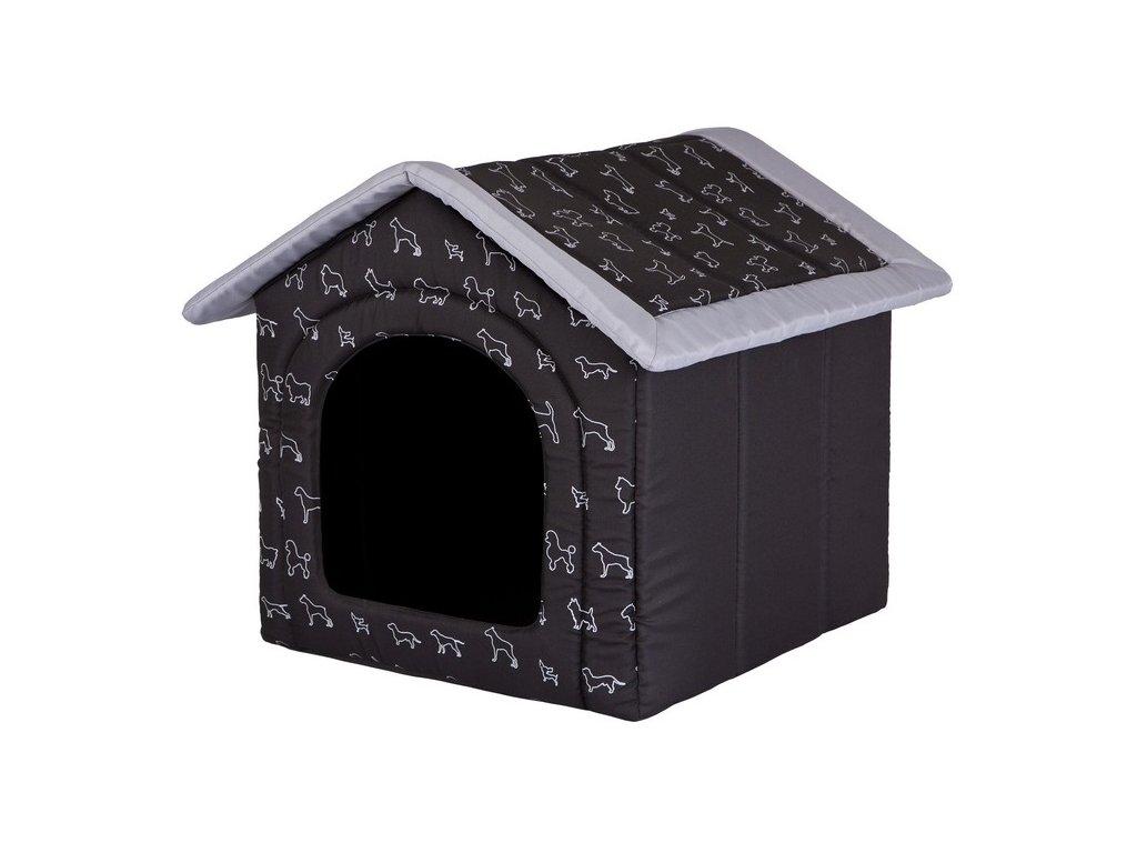 Pelíšek pro psa Bouda černá potisk