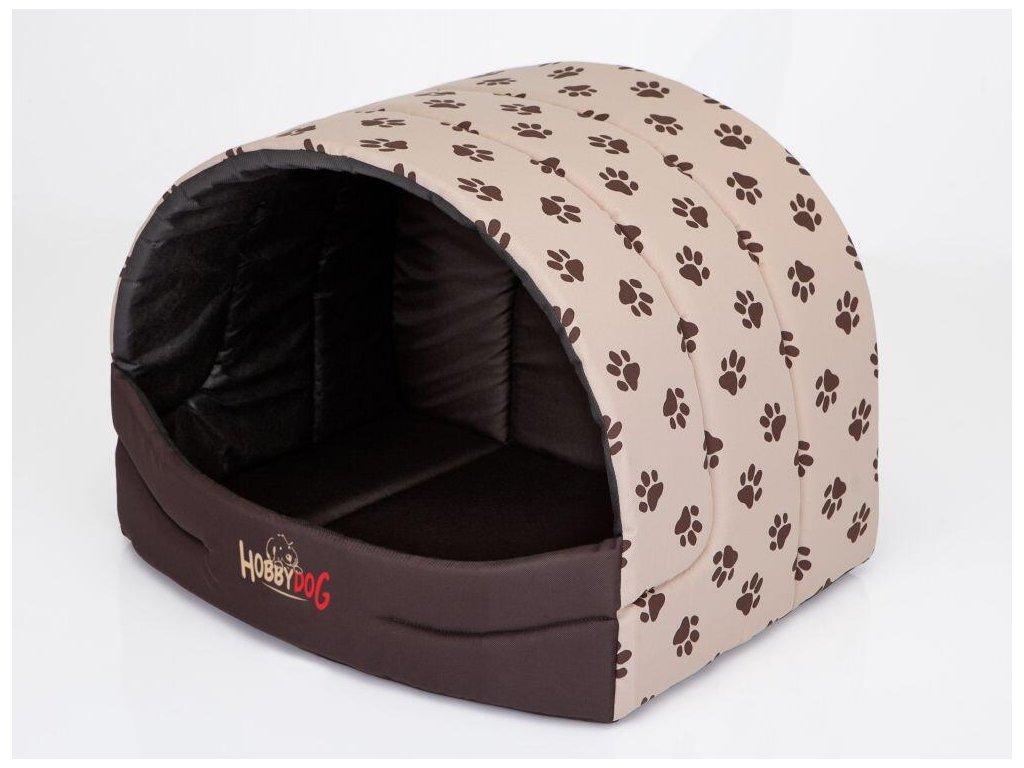 Pelíšek pro psa Suflera béžová a packy1
