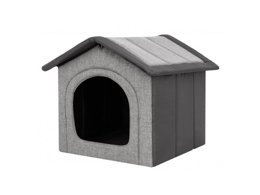 Látková bouda pro psa - světle šedá s šedou