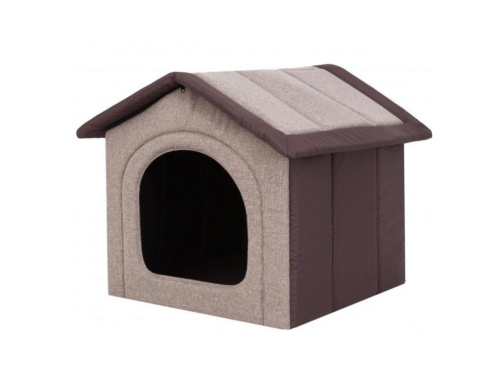 Látková bouda pro psa - kapučíno s hnědou