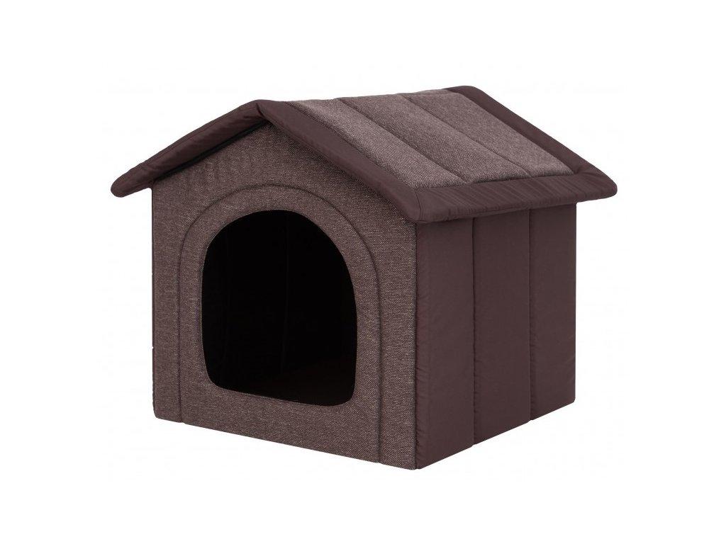 Látková bouda pro psa tmavě hnědá1