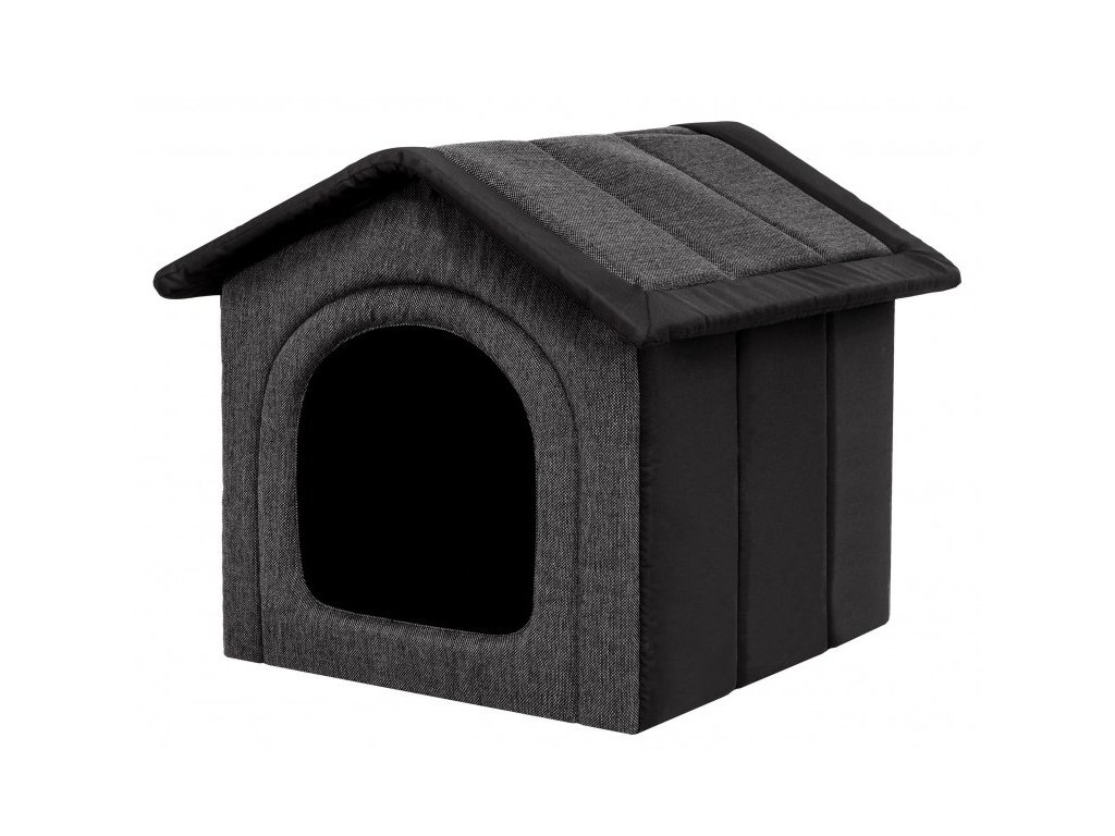 Látková bouda pro psa grafitová s černou1