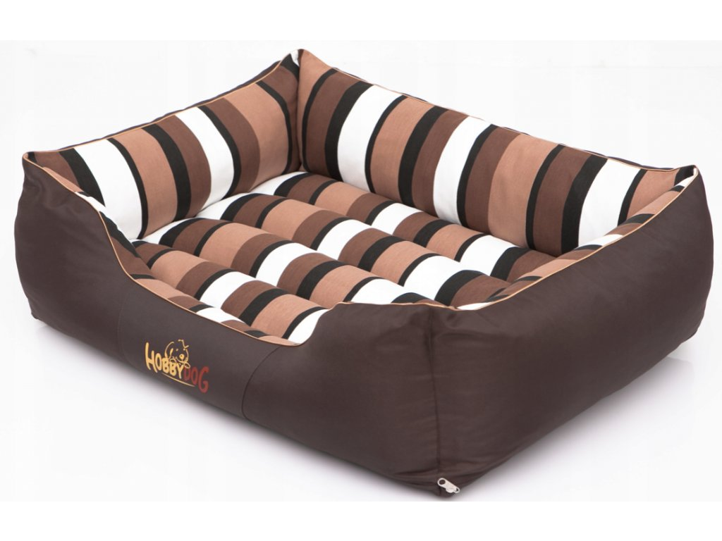 Pelíšek pro psa Comfort - hnědý a pruhy