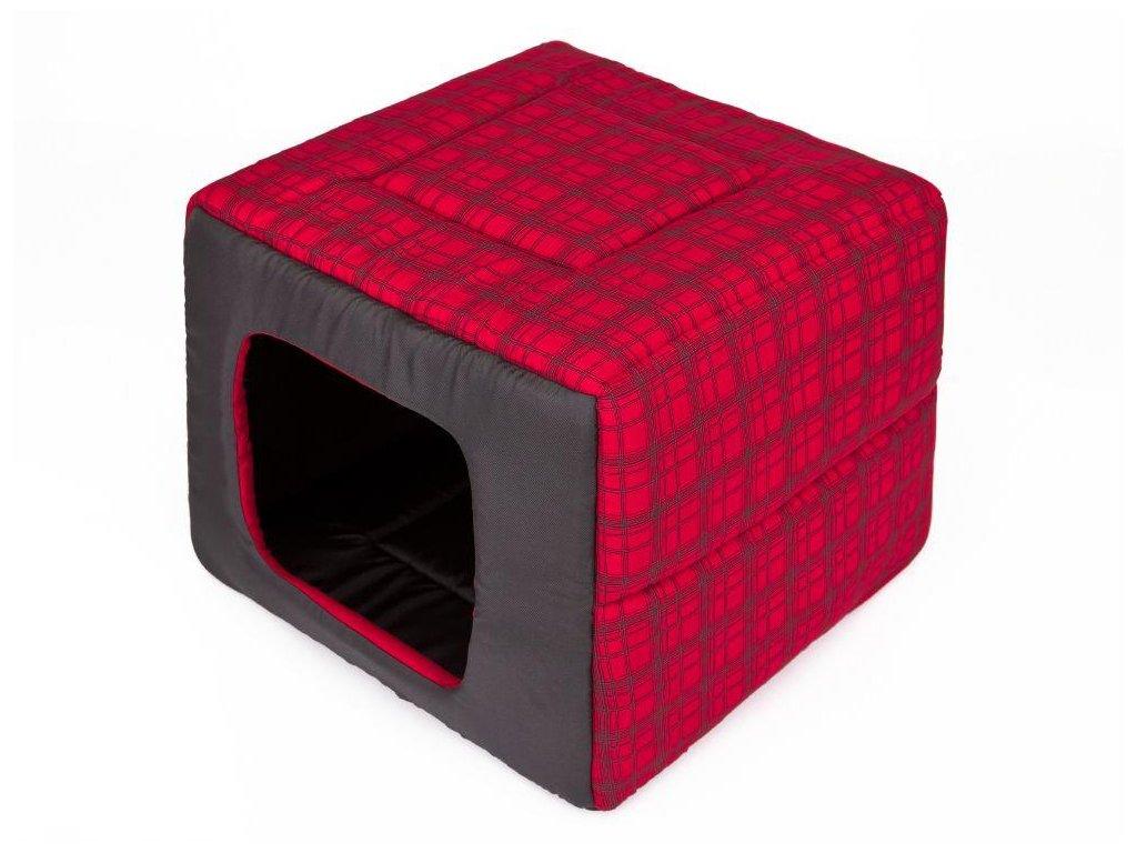 Pelíšek pro psa Butterfly červená kostka1