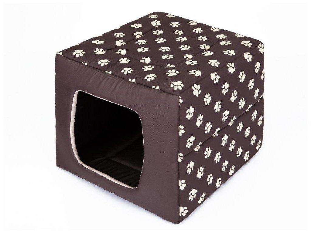 Pelíšek pro psa Butterfly hnědý packy1