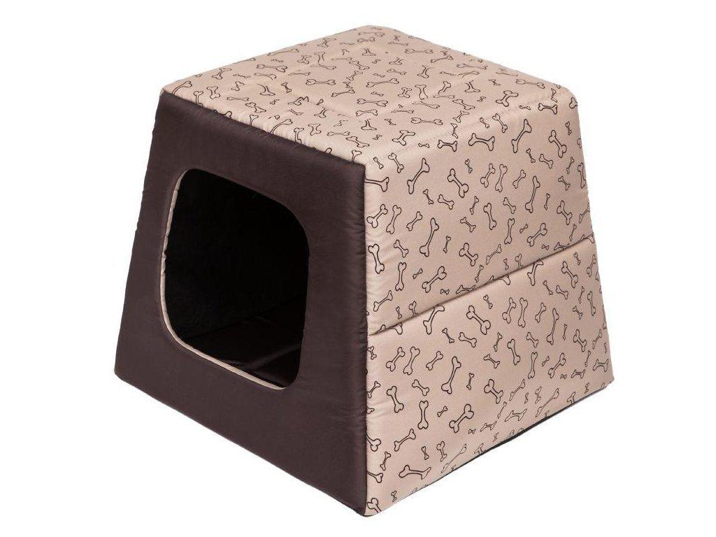 Pelíšek pro psa Pyramida béžová a kosti1