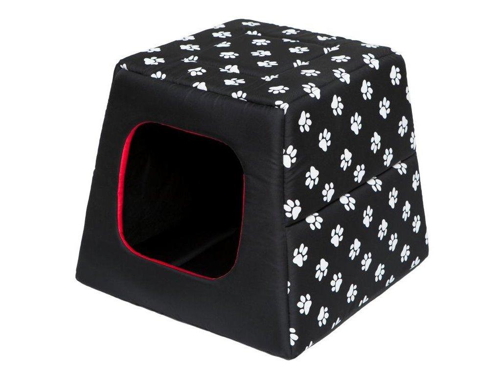 Pelíšek pro psa Pyramida černá a packy1