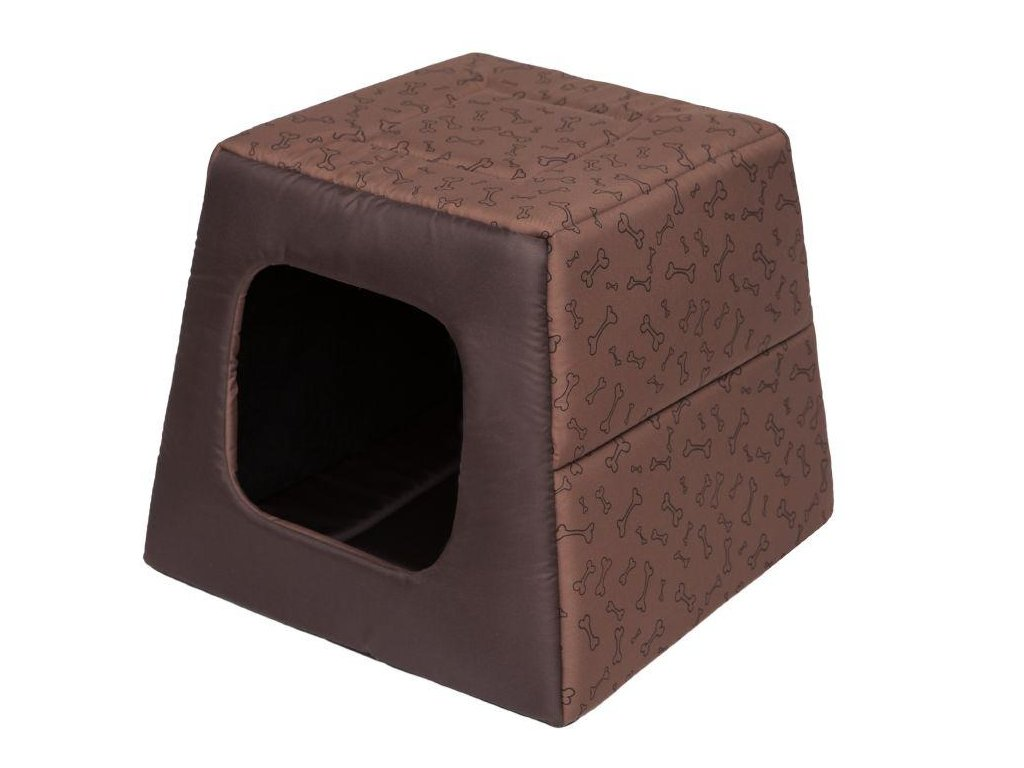 Pelíšek pro psa Pyramida sv. hnědá a kosti1