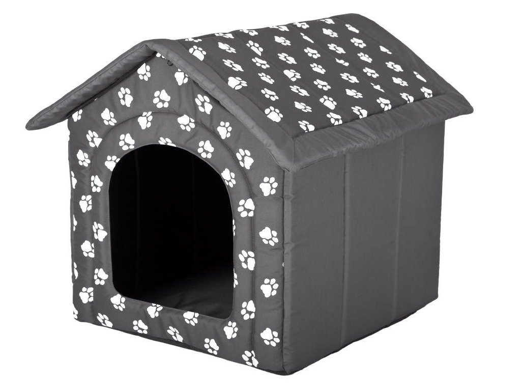 Pelíšek pro psa Bouda šedá a packy1