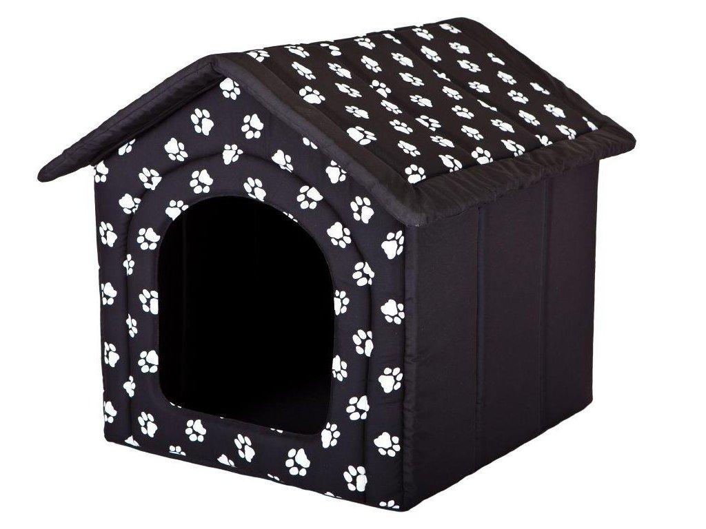 Pelíšek pro psa Bouda černá a packy1