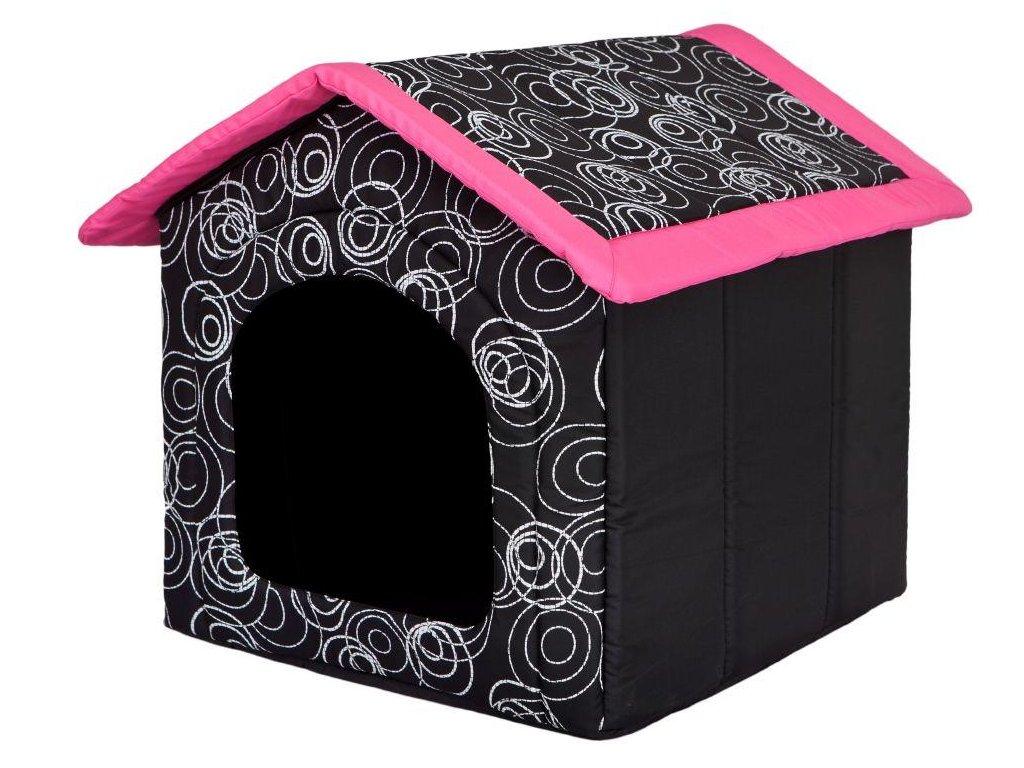 Pelíšek pro psa Bouda růžová střecha1