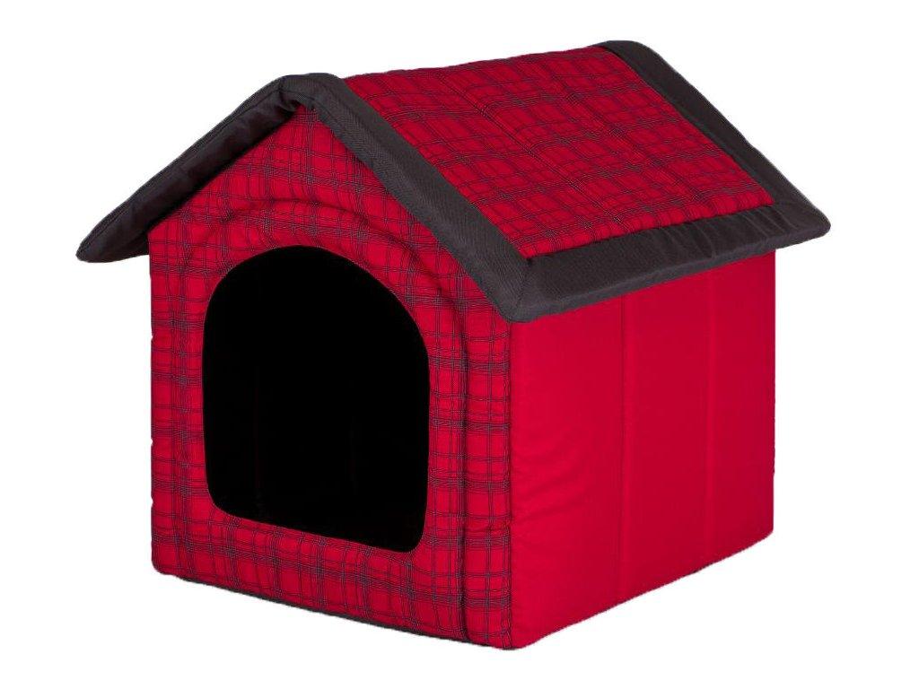 Pelíšek pro psa Bouda červená kostka1